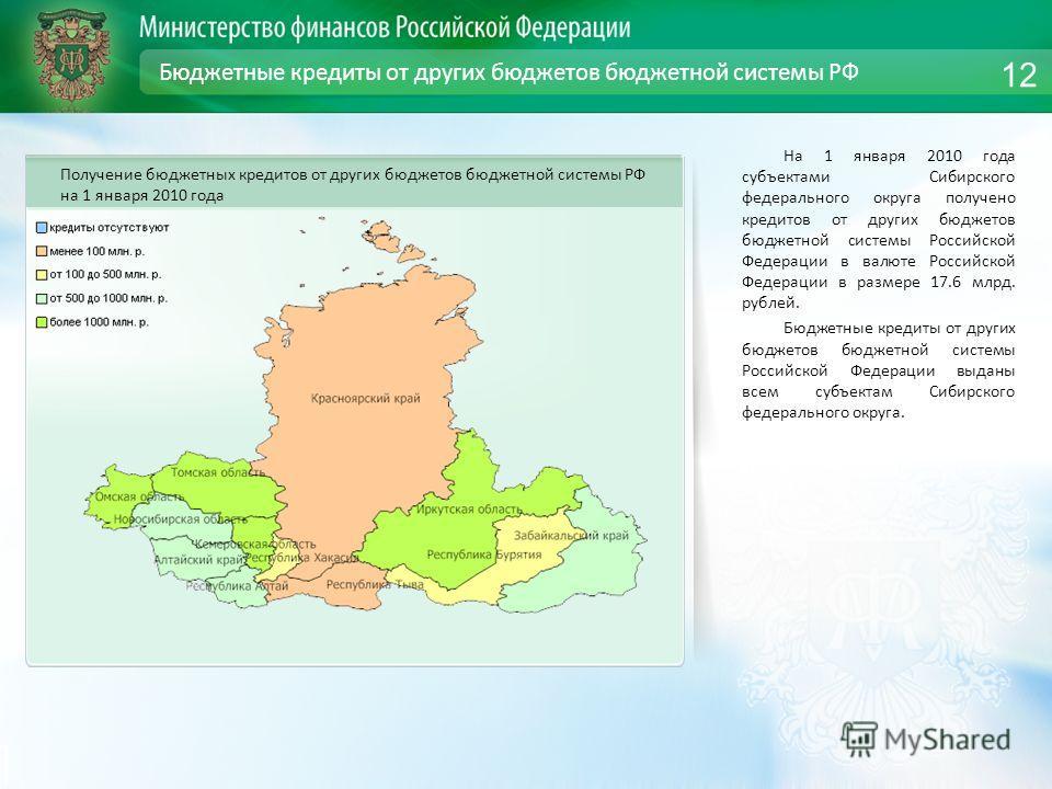 Бюджетные кредиты от других бюджетов бюджетной системы РФ На 1 января 2010 года субъектами Сибирского федерального округа получено кредитов от других бюджетов бюджетной системы Российской Федерации в валюте Российской Федерации в размере 17.6 млрд. р