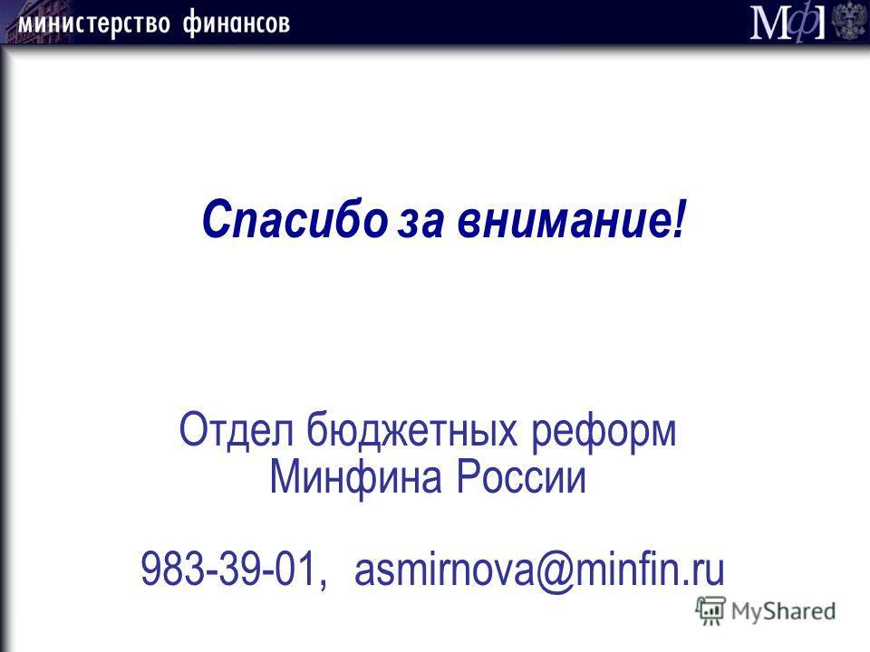 Отдел бюджетных реформ Минфина России 983-39-01, asmirnova@minfin.ru Спасибо за внимание!