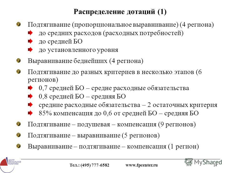 Тел.: (495) 777-6582 www.fpcenter.ru 24 Распределение дотаций (1) Подтягивание (пропорциональное выравнивание) (4 региона) до средних расходов (расходных потребностей) до средней БО до установленного уровня Выравнивание беднейших (4 региона) Подтягив