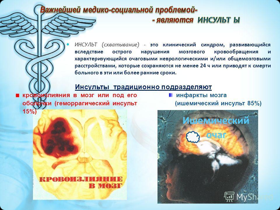 ИНСУЛЬТ (схватывание) - это клинический синдром, развивающийся вследствие острого нарушения мозгового кровообращения и характеризующийся очаговыми неврологическими и/или общемозговыми расстройствами, которые сохраняются не менее 24 ч или приводят к с