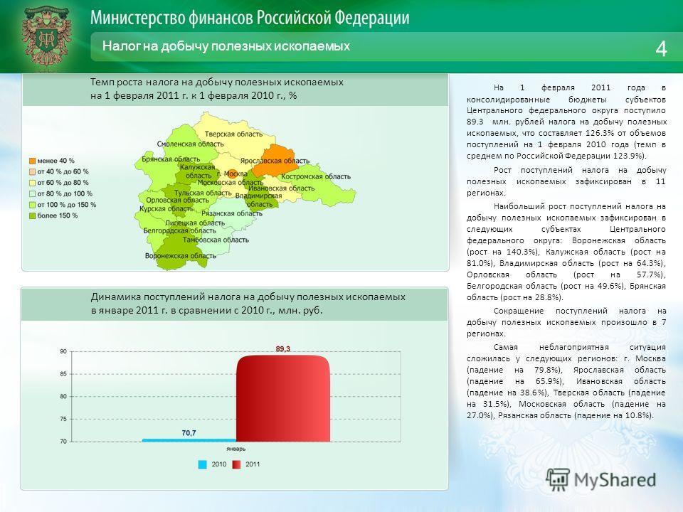 Налог на добычу полезных ископаемых На 1 февраля 2011 года в консолидированные бюджеты субъектов Центрального федерального округа поступило 89.3 млн. рублей налога на добычу полезных ископаемых, что составляет 126.3% от объемов поступлений на 1 февра