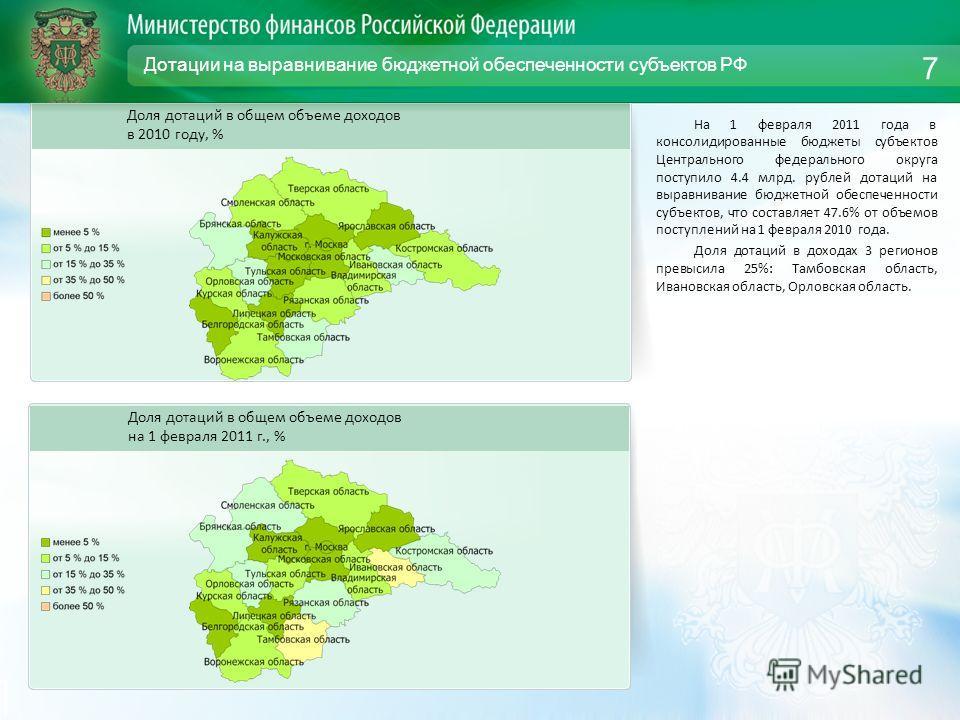 Дотации на выравнивание бюджетной обеспеченности субъектов РФ На 1 февраля 2011 года в консолидированные бюджеты субъектов Центрального федерального округа поступило 4.4 млрд. рублей дотаций на выравнивание бюджетной обеспеченности субъектов, что сос