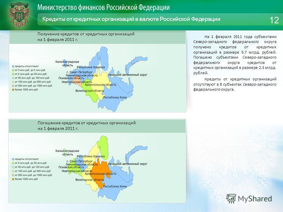 Кредиты от кредитных организаций в валюте Российской Федерации На 1 февраля 2011 года субъектами Северо-западного федерального округа получено кредитов от кредитных организаций в размере 0.7 млрд. рублей. Погашено субъектами Северо-западного федераль