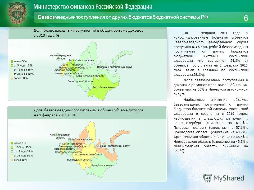 Безвозмездные поступления от других бюджетов бюджетной системы РФ На 1 февраля 2011 года в консолидированные бюджеты субъектов Северо-западного федерального округа поступило 8.3 млрд. рублей безвозмездных поступлений от других бюджетов бюджетной сист