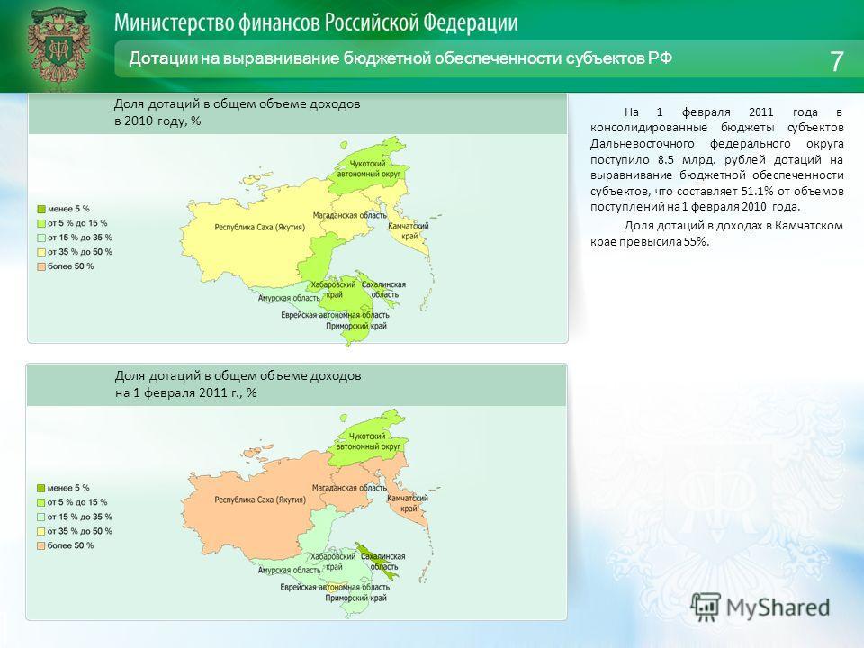 Дотации на выравнивание бюджетной обеспеченности субъектов РФ На 1 февраля 2011 года в консолидированные бюджеты субъектов Дальневосточного федерального округа поступило 8.5 млрд. рублей дотаций на выравнивание бюджетной обеспеченности субъектов, что