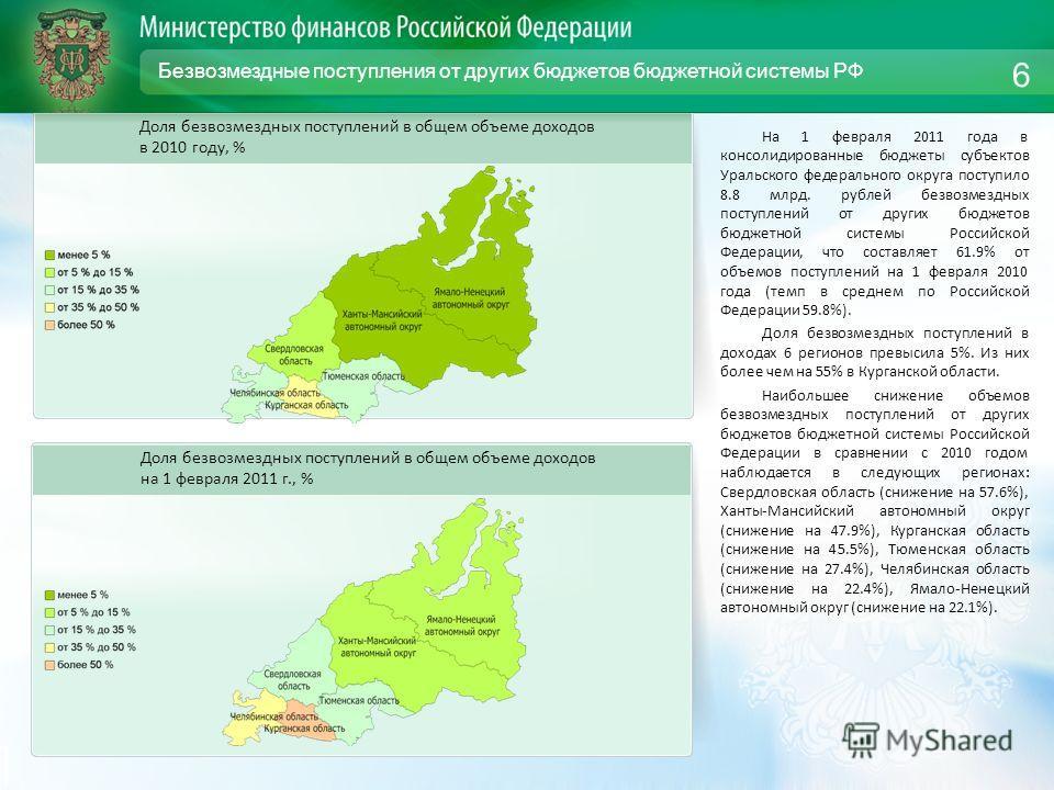 Безвозмездные поступления от других бюджетов бюджетной системы РФ На 1 февраля 2011 года в консолидированные бюджеты субъектов Уральского федерального округа поступило 8.8 млрд. рублей безвозмездных поступлений от других бюджетов бюджетной системы Ро