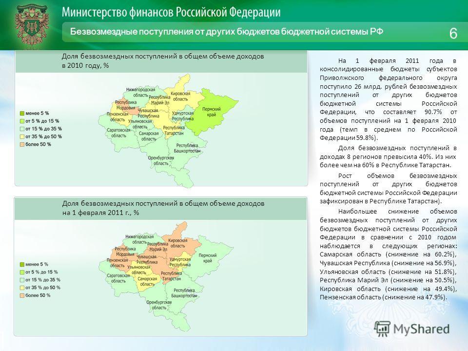 Безвозмездные поступления от других бюджетов бюджетной системы РФ На 1 февраля 2011 года в консолидированные бюджеты субъектов Приволжского федерального округа поступило 26 млрд. рублей безвозмездных поступлений от других бюджетов бюджетной системы Р