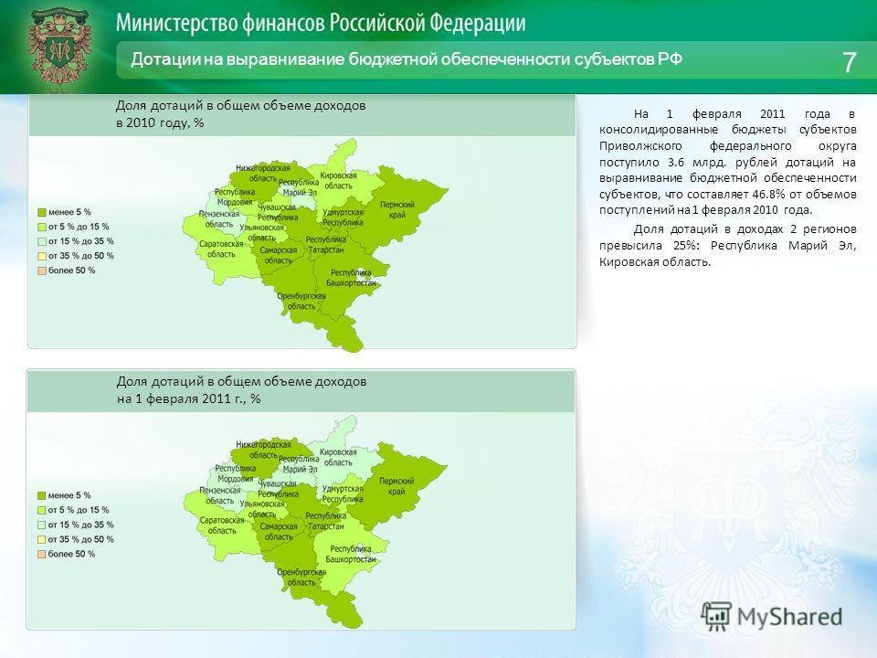 Дотации на выравнивание бюджетной обеспеченности субъектов РФ На 1 февраля 2011 года в консолидированные бюджеты субъектов Приволжского федерального округа поступило 3.6 млрд. рублей дотаций на выравнивание бюджетной обеспеченности субъектов, что сос
