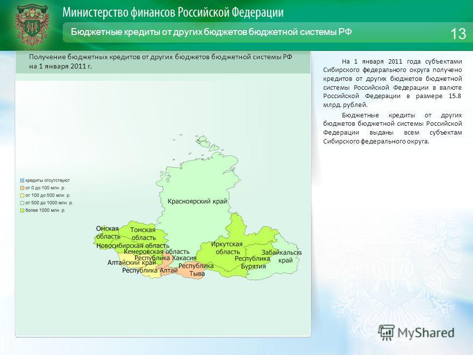 Бюджетные кредиты от других бюджетов бюджетной системы РФ На 1 января 2011 года субъектами Сибирского федерального округа получено кредитов от других бюджетов бюджетной системы Российской Федерации в валюте Российской Федерации в размере 15.8 млрд. р