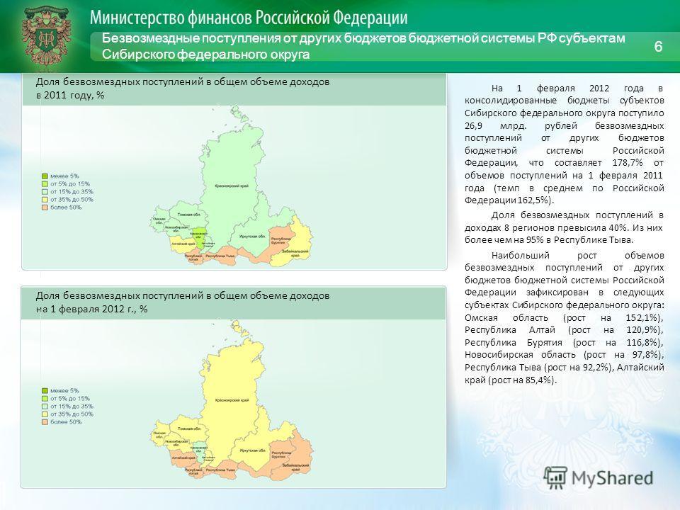 Безвозмездные поступления от других бюджетов бюджетной системы РФ субъектам Сибирского федерального округа На 1 февраля 2012 года в консолидированные бюджеты субъектов Сибирского федерального округа поступило 26,9 млрд. рублей безвозмездных поступлен