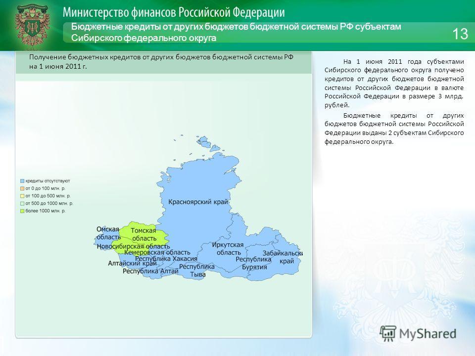 Бюджетные кредиты от других бюджетов бюджетной системы РФ субъектам Сибирского федерального округа На 1 июня 2011 года субъектами Сибирского федерального округа получено кредитов от других бюджетов бюджетной системы Российской Федерации в валюте Росс
