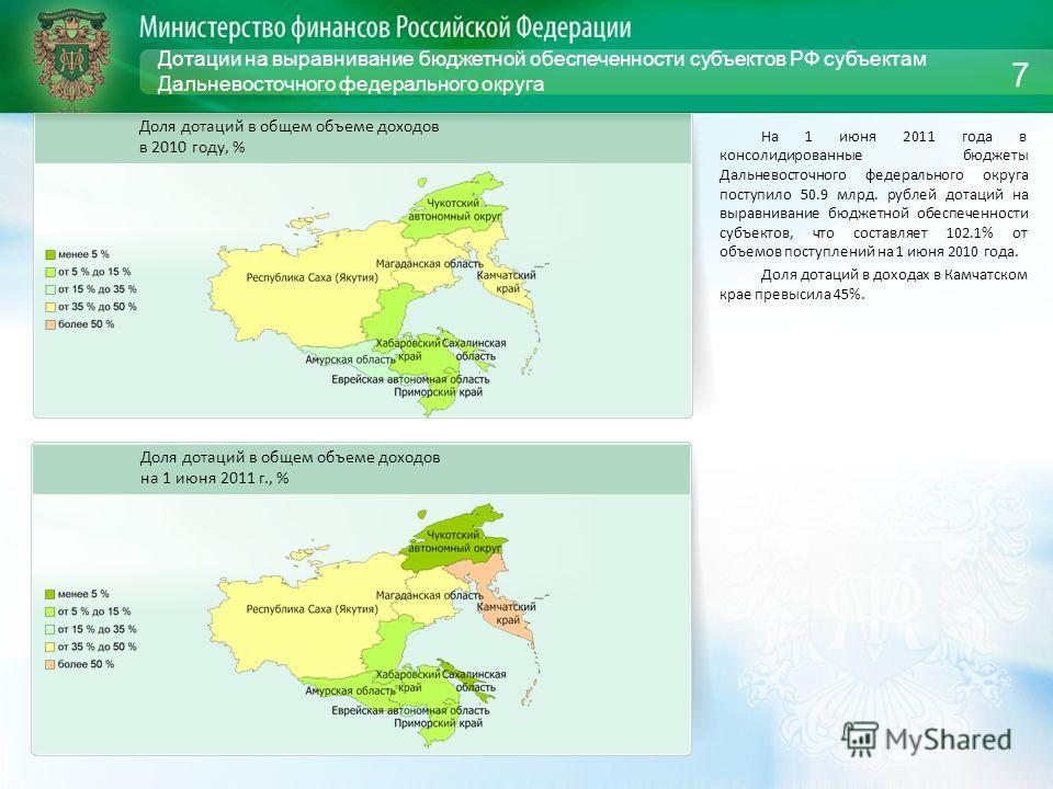 Дотации на выравнивание бюджетной обеспеченности субъектов РФ субъектам Дальневосточного федерального округа На 1 июня 2011 года в консолидированные бюджеты Дальневосточного федерального округа поступило 50.9 млрд. рублей дотаций на выравнивание бюдж