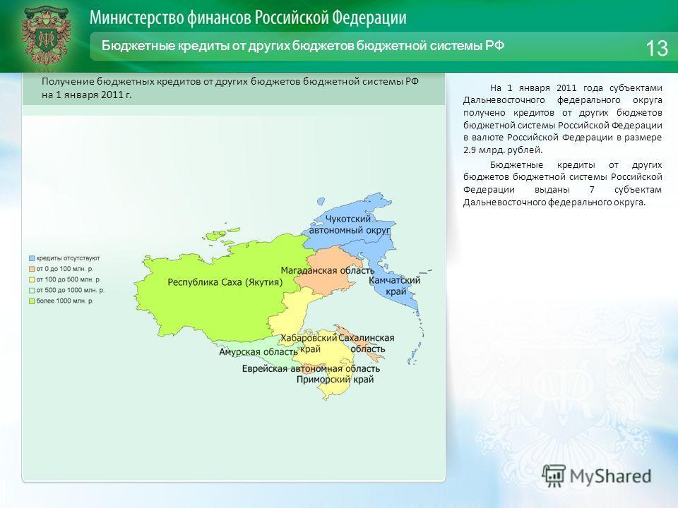 Бюджетные кредиты от других бюджетов бюджетной системы РФ На 1 января 2011 года субъектами Дальневосточного федерального округа получено кредитов от других бюджетов бюджетной системы Российской Федерации в валюте Российской Федерации в размере 2.9 мл