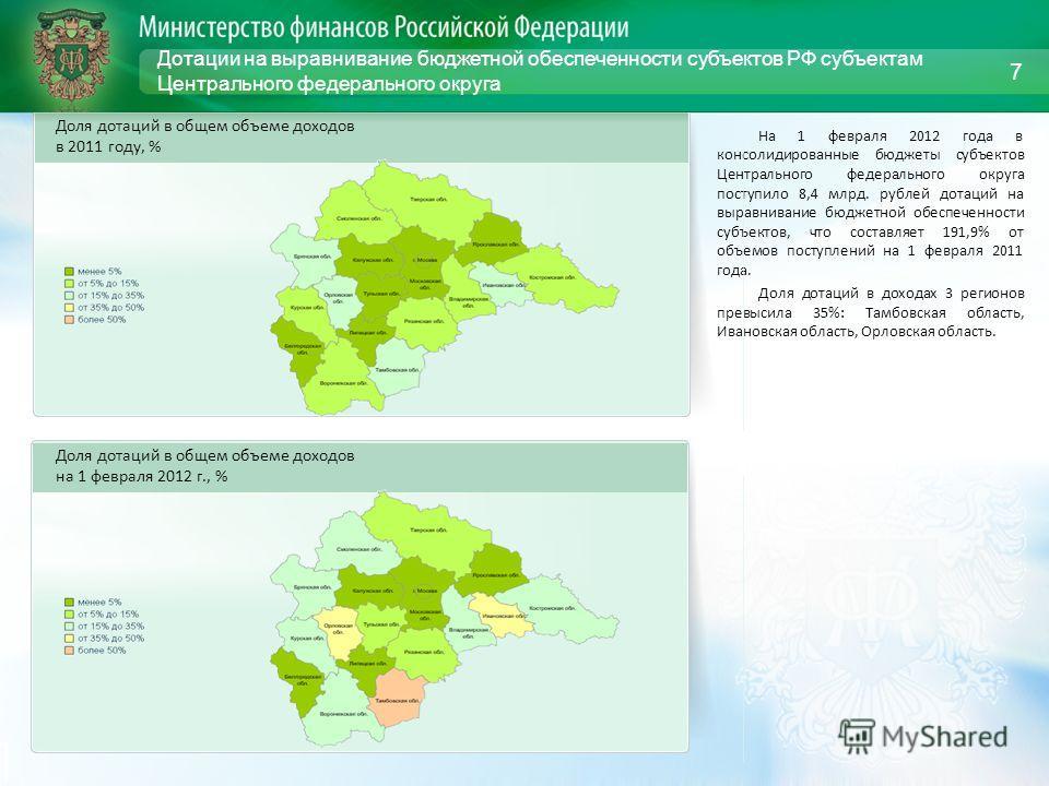 Дотации на выравнивание бюджетной обеспеченности субъектов РФ субъектам Центрального федерального округа На 1 февраля 2012 года в консолидированные бюджеты субъектов Центрального федерального округа поступило 8,4 млрд. рублей дотаций на выравнивание