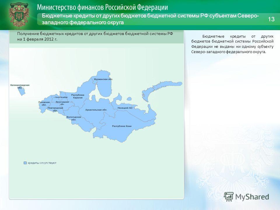 Бюджетные кредиты от других бюджетов бюджетной системы РФ субъектам Северо- западного федерального округа Бюджетные кредиты от других бюджетов бюджетной системы Российской Федерации не выданы ни одному субъекту Северо-западного федерального округа. 1