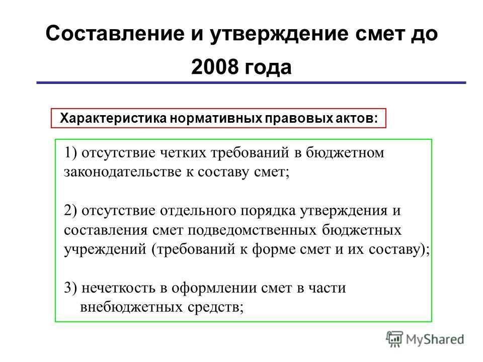 Составление и утверждение смет до 2008 года Характеристика нормативных правовых актов: 1) отсутствие четких требований в бюджетном законодательстве к составу смет; 2) отсутствие отдельного порядка утверждения и составления смет подведомственных бюдже