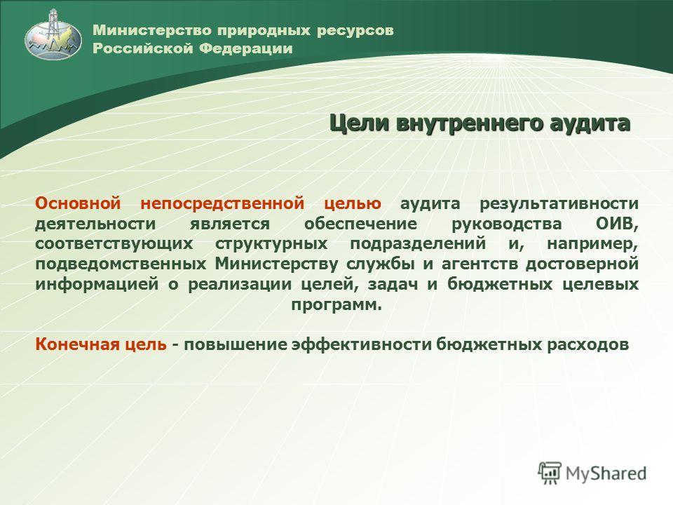 Министерство природных ресурсов Российской Федерации Основной непосредственной целью аудита результативности деятельности является обеспечение руководства ОИВ, соответствующих структурных подразделений и, например, подведомственных Министерству служб