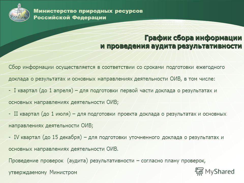 Министерство природных ресурсов Российской Федерации Сбор информации осуществляется в соответствии со сроками подготовки ежегодного доклада о результатах и основных направлениях деятельности ОИВ, в том числе: - I квартал (до 1 апреля) – для подготовк