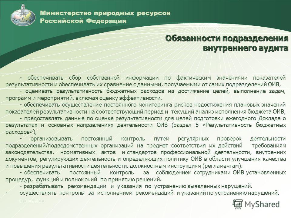 Министерство природных ресурсов Российской Федерации Обязанности подразделения внутреннего аудита - обеспечивать сбор собственной информации по фактическим значениями показателей результативности и обеспечивать их сравнение с данными, получаемыми от