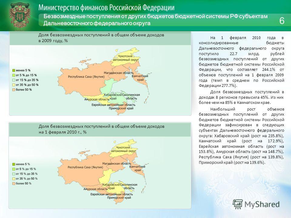 Безвозмездные поступления от других бюджетов бюджетной системы РФ субъектам Дальневосточного федерального округа На 1 февраля 2010 года в консолидированные бюджеты Дальневосточного федерального округа поступило 22.7 млрд. рублей безвозмездных поступл
