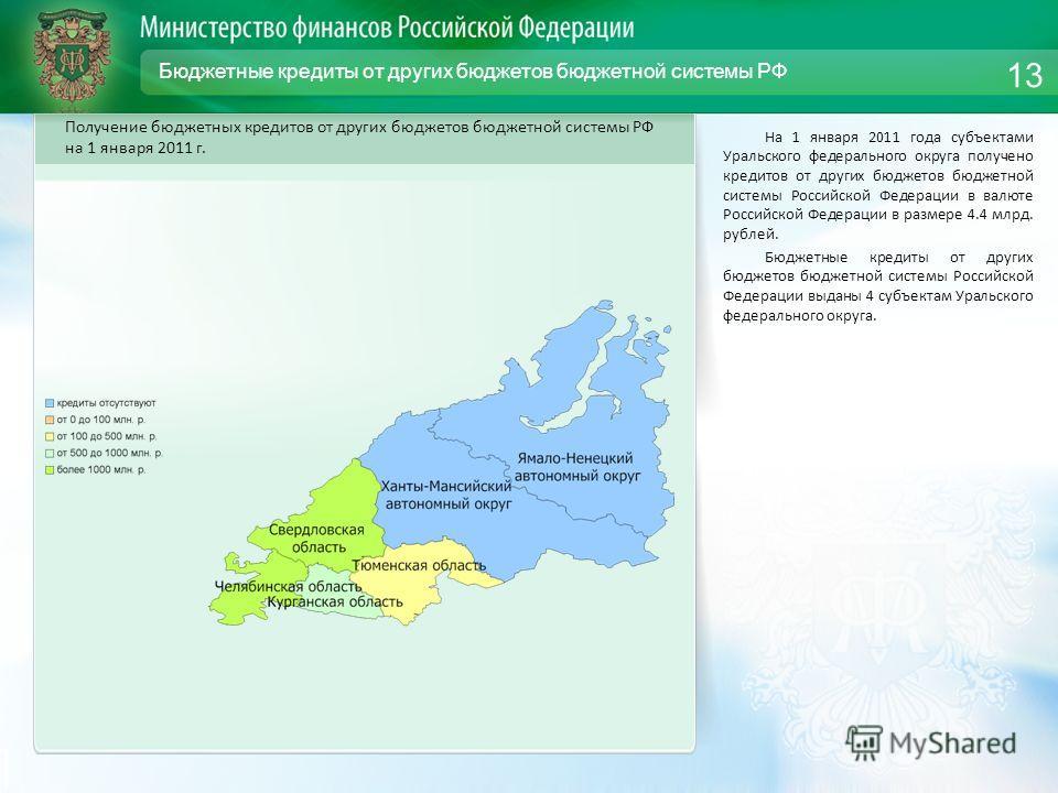Бюджетные кредиты от других бюджетов бюджетной системы РФ На 1 января 2011 года субъектами Уральского федерального округа получено кредитов от других бюджетов бюджетной системы Российской Федерации в валюте Российской Федерации в размере 4.4 млрд. ру