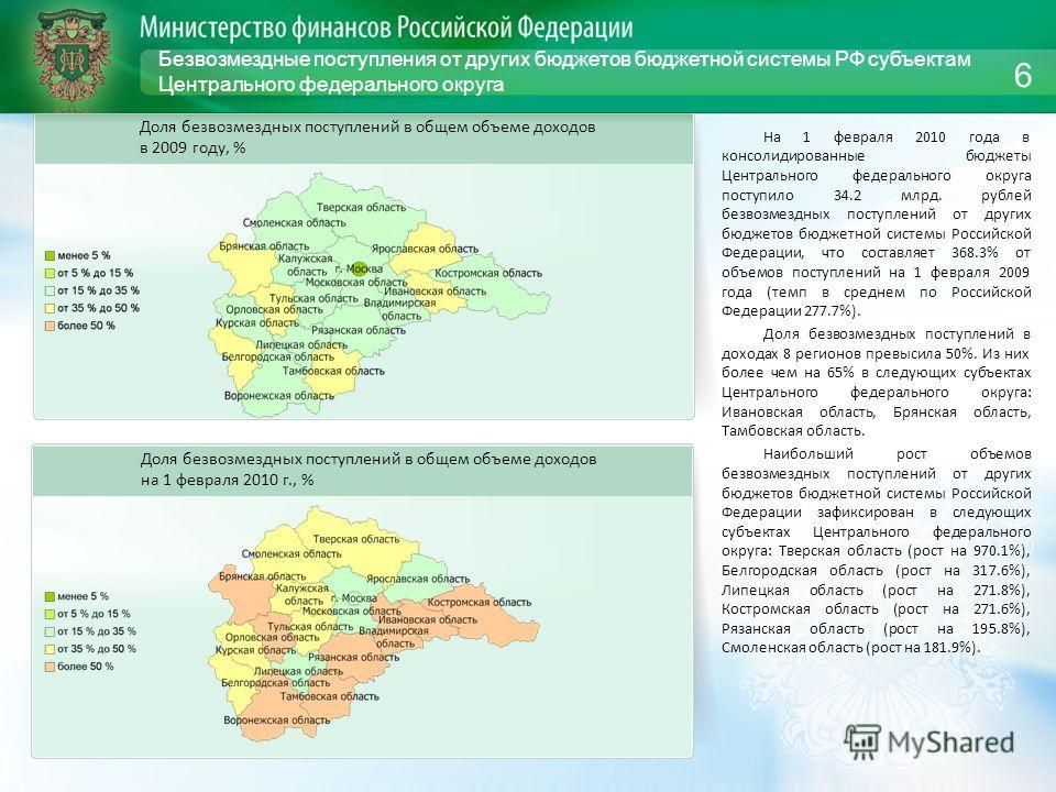 Безвозмездные поступления от других бюджетов бюджетной системы РФ субъектам Центрального федерального округа На 1 февраля 2010 года в консолидированные бюджеты Центрального федерального округа поступило 34.2 млрд. рублей безвозмездных поступлений от