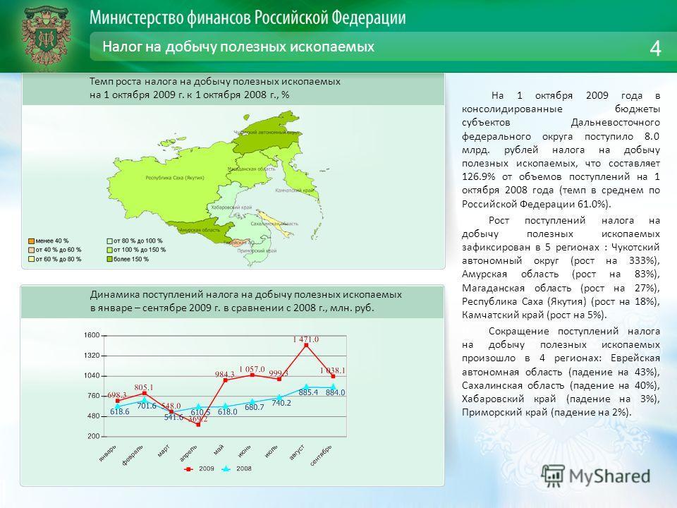 Налог на добычу полезных ископаемых На 1 октября 2009 года в консолидированные бюджеты субъектов Дальневосточного федерального округа поступило 8.0 млрд. рублей налога на добычу полезных ископаемых, что составляет 126.9% от объемов поступлений на 1 о