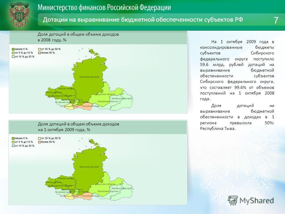 Дотации на выравнивание бюджетной обеспеченности субъектов РФ На 1 октября 2009 года в консолидированные бюджеты субъектов Сибирского федерального округа поступило 59.6 млрд. рублей дотаций на выравнивание бюджетной обеспеченности субъектов Сибирског
