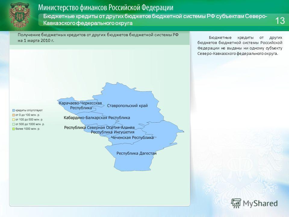 Бюджетные кредиты от других бюджетов бюджетной системы РФ субъектам Северо- Кавказского федерального округа Бюджетные кредиты от других бюджетов бюджетной системы Российской Федерации не выданы ни одному субъекту Северо-Кавказского федерального округ