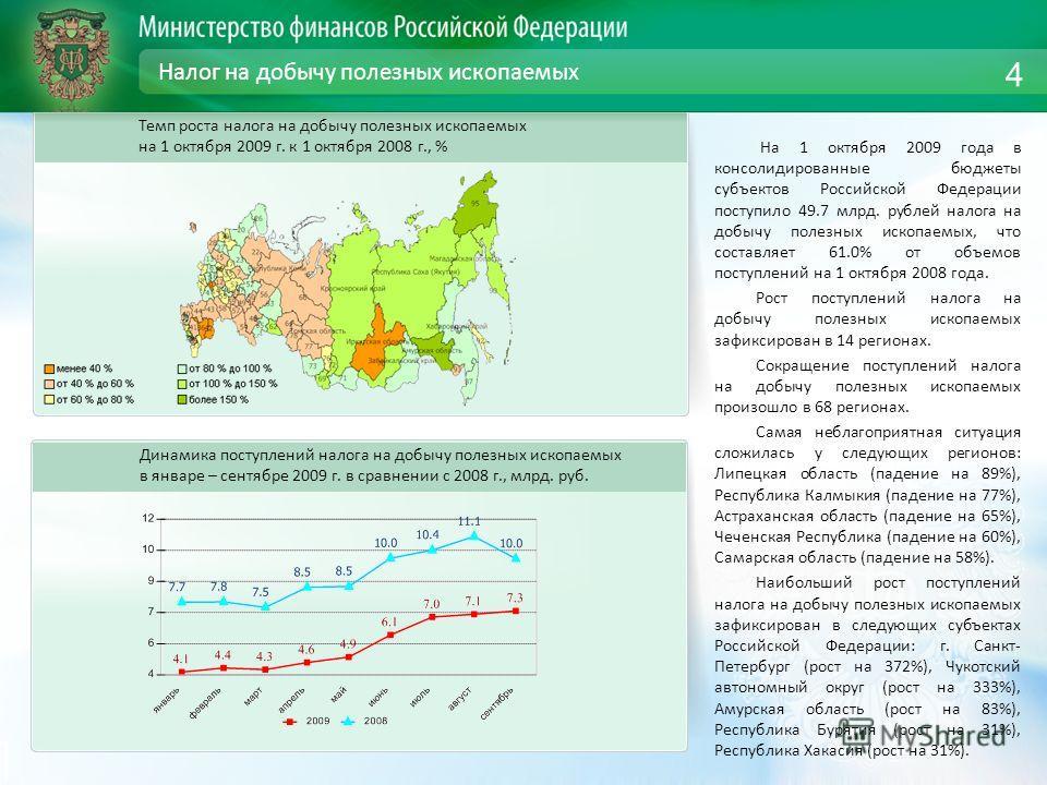 Налог на добычу полезных ископаемых На 1 октября 2009 года в консолидированные бюджеты субъектов Российской Федерации поступило 49.7 млрд. рублей налога на добычу полезных ископаемых, что составляет 61.0% от объемов поступлений на 1 октября 2008 года