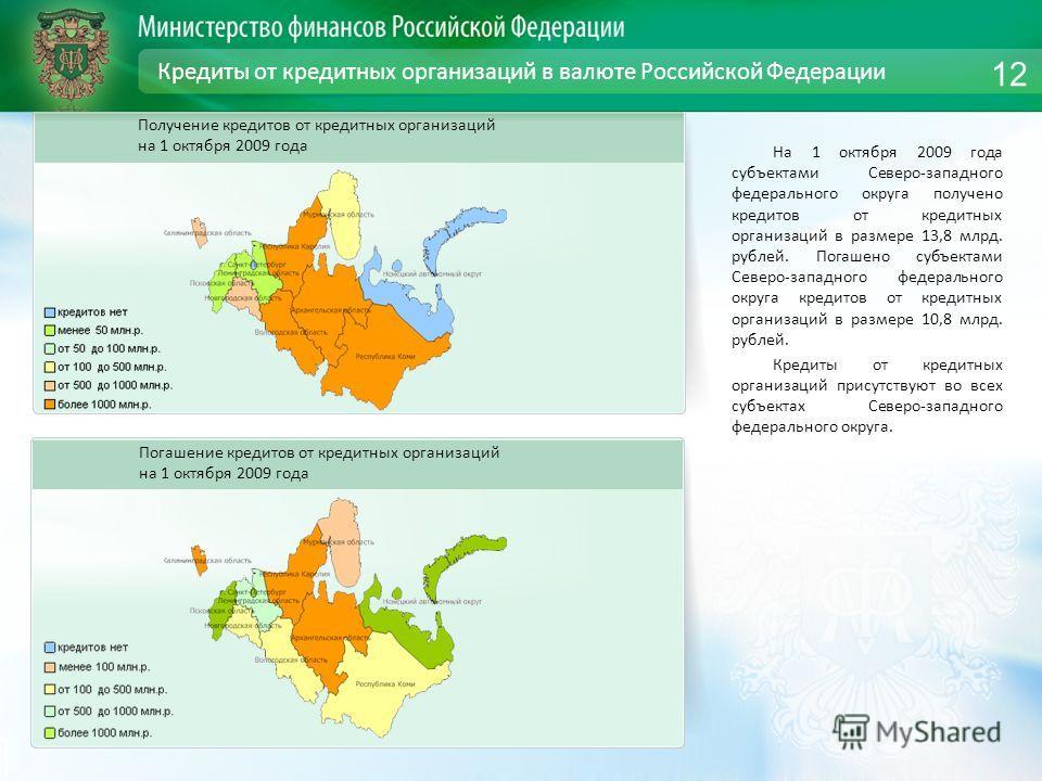 Кредиты от кредитных организаций в валюте Российской Федерации На 1 октября 2009 года субъектами Северо-западного федерального округа получено кредитов от кредитных организаций в размере 13,8 млрд. рублей. Погашено субъектами Северо-западного федерал