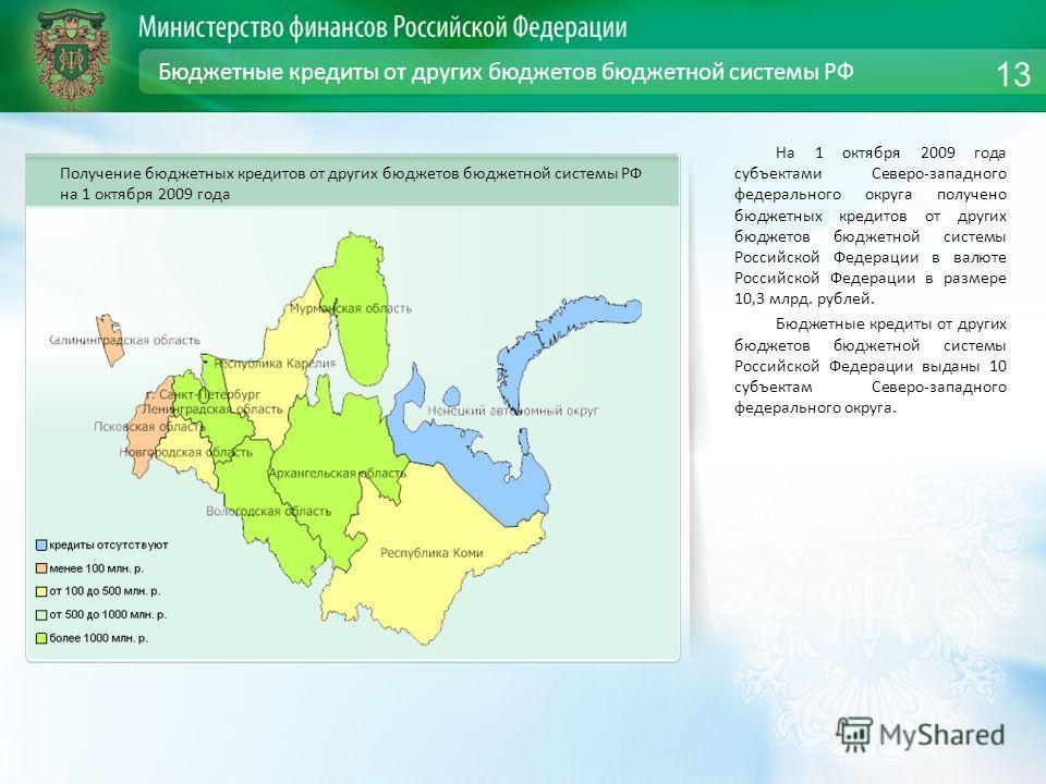 Бюджетные кредиты от других бюджетов бюджетной системы РФ На 1 октября 2009 года субъектами Северо-западного федерального округа получено бюджетных кредитов от других бюджетов бюджетной системы Российской Федерации в валюте Российской Федерации в раз