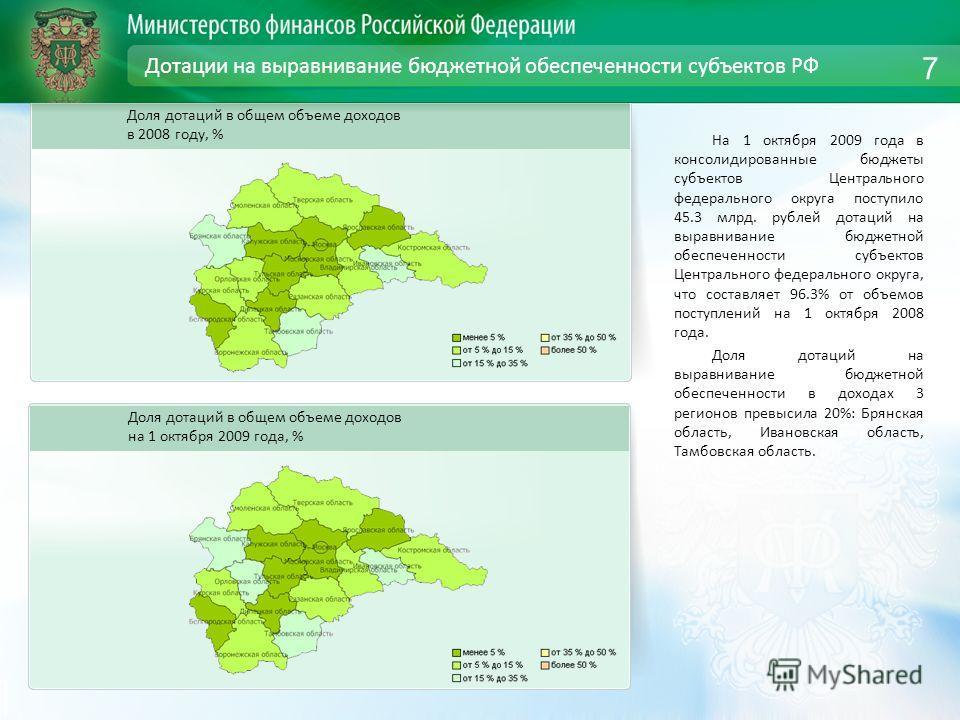 Дотации на выравнивание бюджетной обеспеченности субъектов РФ На 1 октября 2009 года в консолидированные бюджеты субъектов Центрального федерального округа поступило 45.3 млрд. рублей дотаций на выравнивание бюджетной обеспеченности субъектов Централ