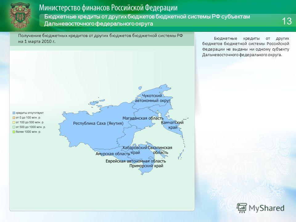 Бюджетные кредиты от других бюджетов бюджетной системы РФ субъектам Дальневосточного федерального округа Бюджетные кредиты от других бюджетов бюджетной системы Российской Федерации не выданы ни одному субъекту Дальневосточного федерального округа. 13