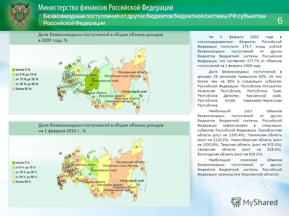 Безвозмездные поступления от других бюджетов бюджетной системы РФ субъектам Российской Федерации На 1 февраля 2010 года в консолидированные бюджеты Российской Федерации поступило 175.7 млрд. рублей безвозмездных поступлений от других бюджетов бюджетн
