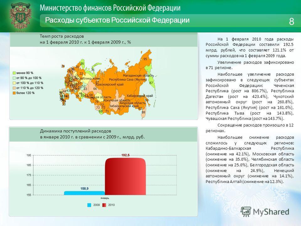 Расходы субъектов Российской Федерации На 1 февраля 2010 года расходы Российской Федерации составили 192.5 млрд. рублей, что составляет 121.1% от суммы расходов на 1 февраля 2009 года. Увеличение расходов зафиксировано в 71 регионе. Наибольшее увелич