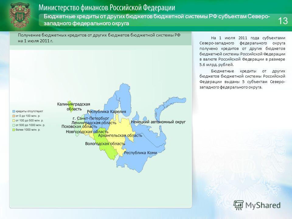 Бюджетные кредиты от других бюджетов бюджетной системы РФ субъектам Северо- западного федерального округа На 1 июля 2011 года субъектами Северо-западного федерального округа получено кредитов от других бюджетов бюджетной системы Российской Федерации