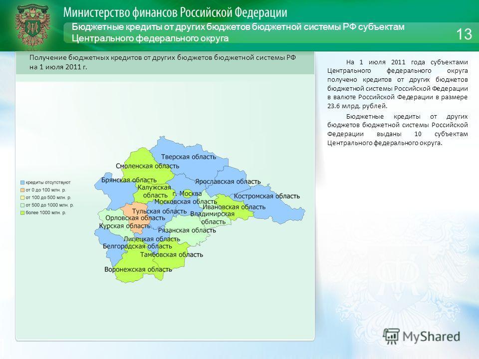 Бюджетные кредиты от других бюджетов бюджетной системы РФ субъектам Центрального федерального округа На 1 июля 2011 года субъектами Центрального федерального округа получено кредитов от других бюджетов бюджетной системы Российской Федерации в валюте