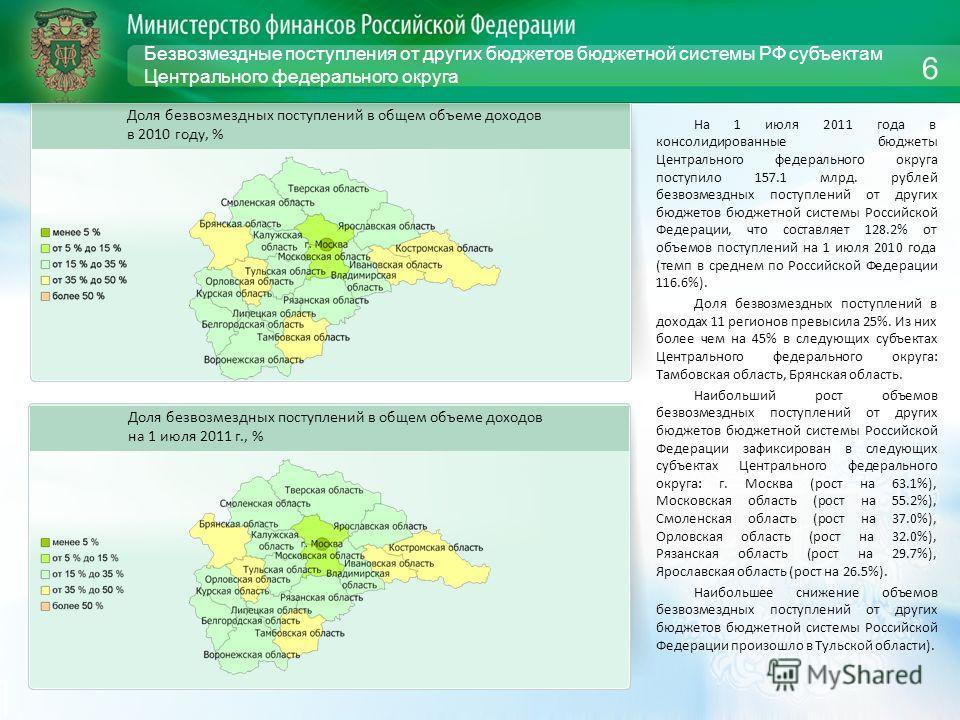 Безвозмездные поступления от других бюджетов бюджетной системы РФ субъектам Центрального федерального округа На 1 июля 2011 года в консолидированные бюджеты Центрального федерального округа поступило 157.1 млрд. рублей безвозмездных поступлений от др