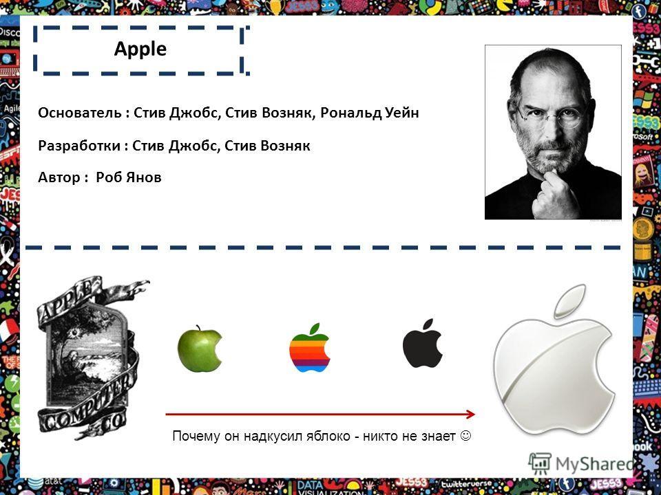 Apple Почему он надкусил яблоко - никто не знает Основатель : Стив Джобс, Стив Возняк, Рональд Уейн Разработки : Стив Джобс, Стив Возняк Автор : Роб Янов