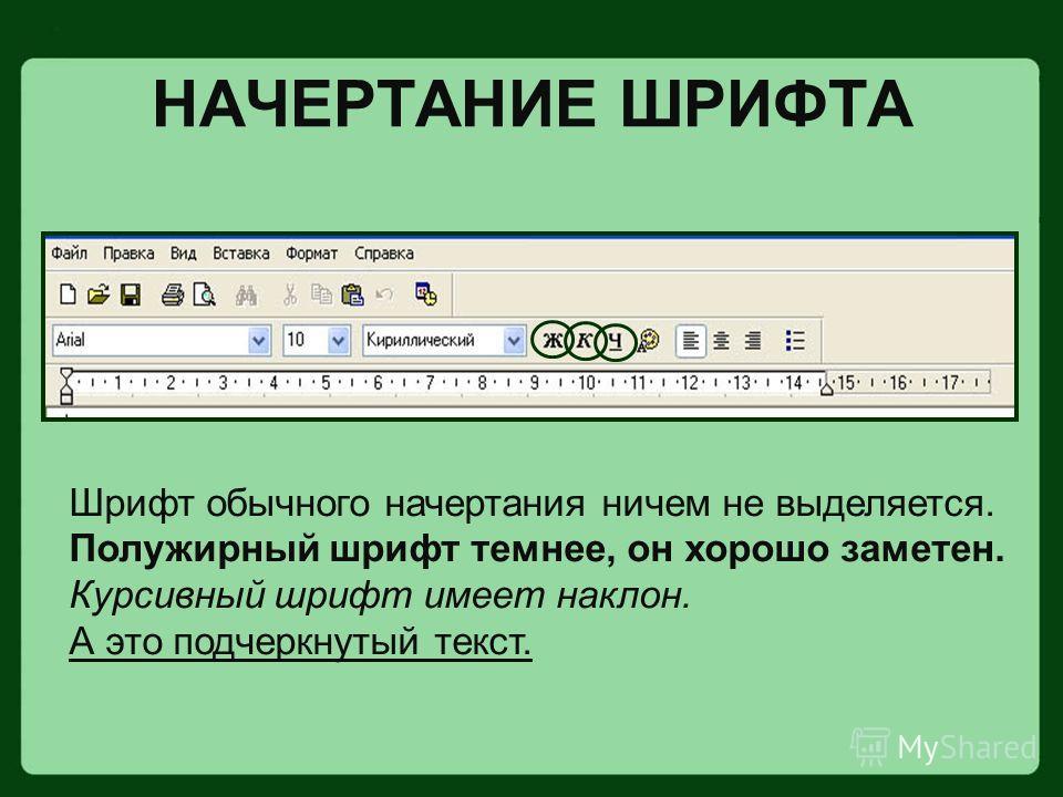 НАЧЕРТАНИЕ ШРИФТА Шрифт обычного начертания ничем не выделяется. Полужирный шрифт темнее, он хорошо заметен. Курсивный шрифт имеет наклон. А это подчеркнутый текст.