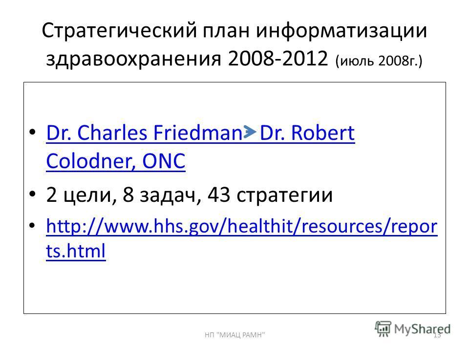 Стратегический план информатизации здравоохранения 2008-2012 (июль 2008г.) Dr. Charles Friedman Dr. Robert Colodner, ONC Dr. Charles Friedman Dr. Robert Colodner, ONC 2 цели, 8 задач, 43 стратегии http://www.hhs.gov/healthit/resources/repor ts.html h