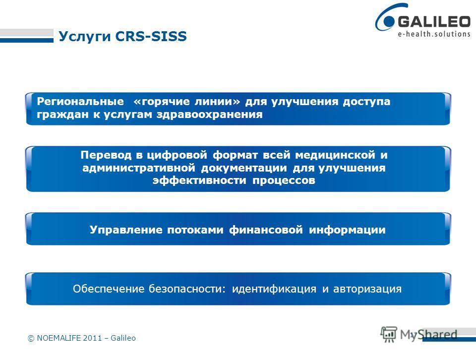 © NOEMALIFE 2011 – Galileo Услуги CRS-SISS Перевод в цифровой формат всей медицинской и административной документации для улучшения эффективности процессов Управление потоками финансовой информации Обеспечение безопасности: идентификация и авторизаци