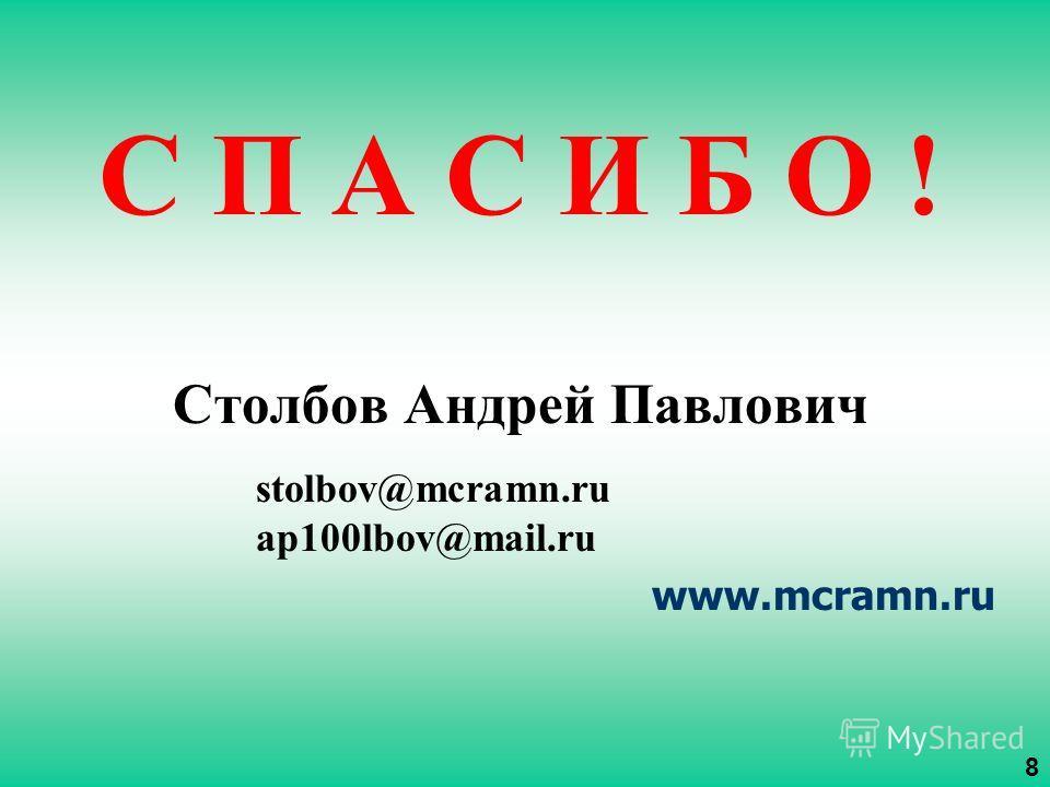 С П А С И Б О ! Столбов Андрей Павлович stolbov@mcramn.ru ap100lbov@mail.ru www.mcramn.ru 8