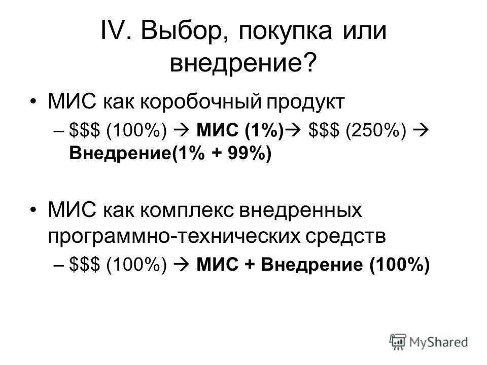 IV. Выбор, покупка или внедрение? МИС как коробочный продукт –$$$ (100%) МИС (1%) $$$ (250%) Внедрение(1% + 99%) МИС как комплекс внедренных программно-технических средств –$$$ (100%) МИС + Внедрение (100%)
