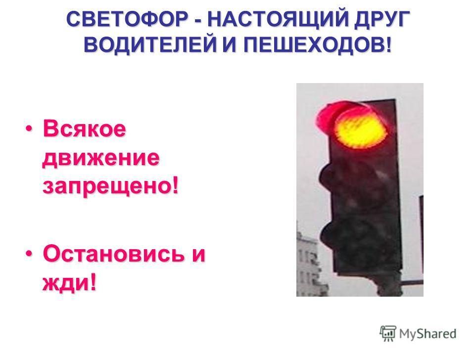 СВЕТОФОР - НАСТОЯЩИЙ ДРУГ ВОДИТЕЛЕЙ И ПЕШЕХОДОВ! Всякое движение запрещено!Всякое движение запрещено! Остановись и жди!Остановись и жди!
