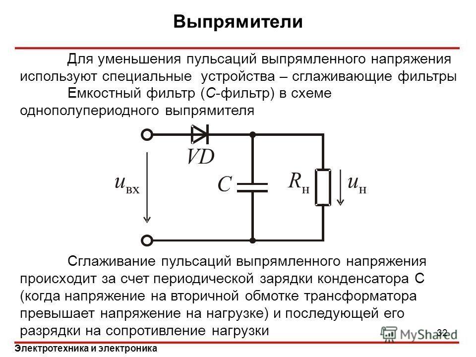 Электротехника и электроника Выпрямители 32 Для уменьшения пульсаций выпрямленного напряжения используют специальные устройства – сглаживающие фильтры Емкостный фильтр (С-фильтр) в схеме однополупериодного выпрямителя Сглаживание пульсаций выпрямленн