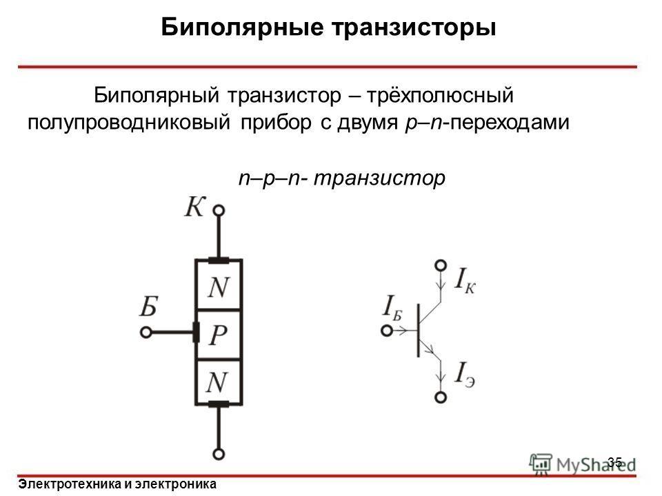 Электротехника и электроника Биполярные транзисторы Биполярный транзистор – трёхполюсный полупроводниковый прибор с двумя p–n-переходами n–p–n- транзистор 35