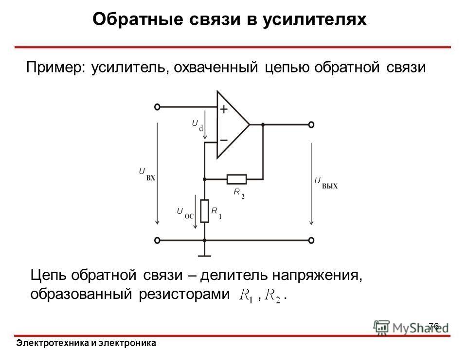 Обратные связи в усилителях Электротехника и электроника Пример: усилитель, охваченный цепью обратной связи U U U U R R Цепь обратной связи – делитель напряжения, образованный резисторами,. 76