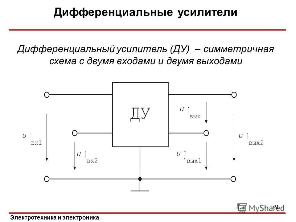 Дифференциальные усилители Электротехника и электроника Дифференциальный усилитель (ДУ) – симметричная схема с двумя входами и двумя выходами U UU U U 79